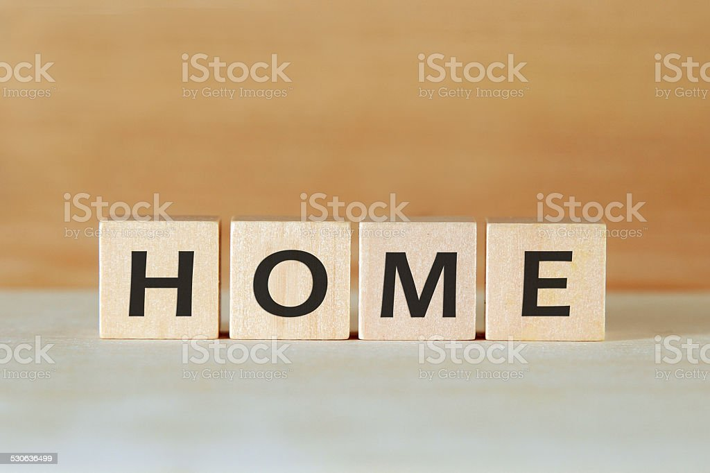 Home Word On Blocks stock photo