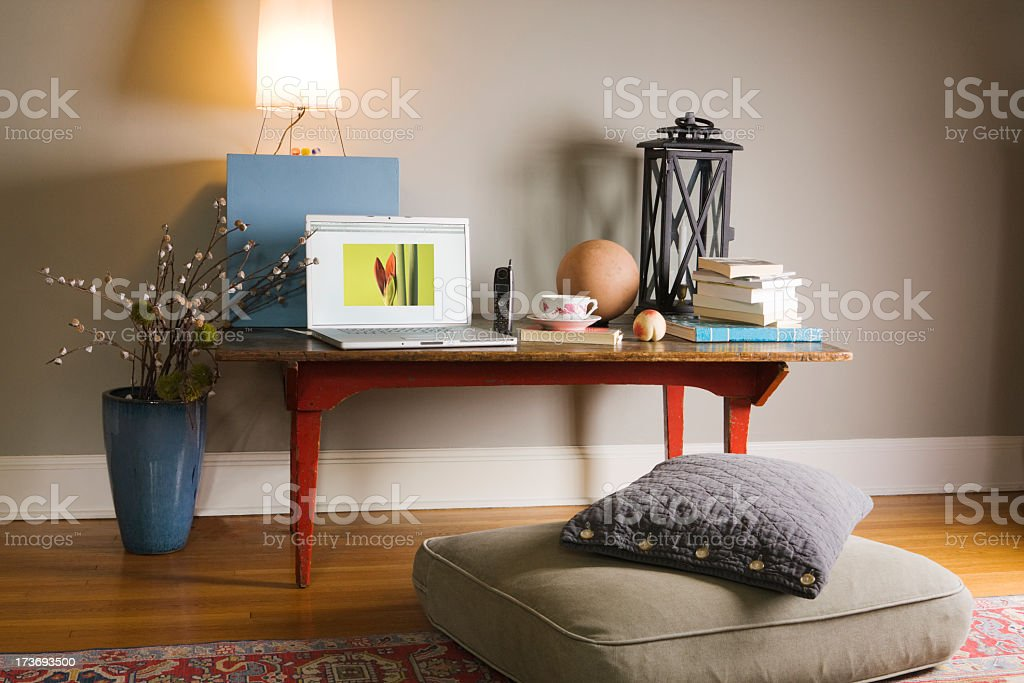 Home Work Space for Study, Laptop Telecommuting in Comfortable Room royalty-free stock photo