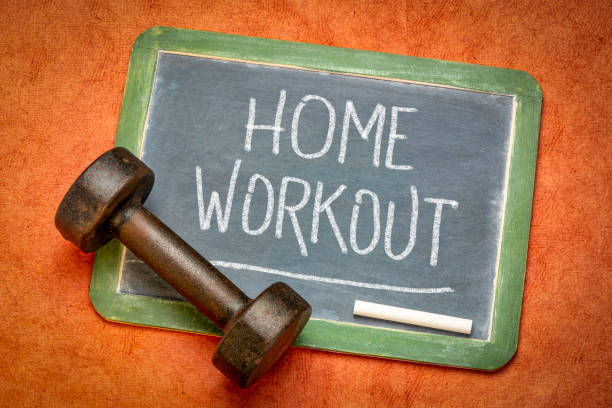 home workout blackboard sign stock photo