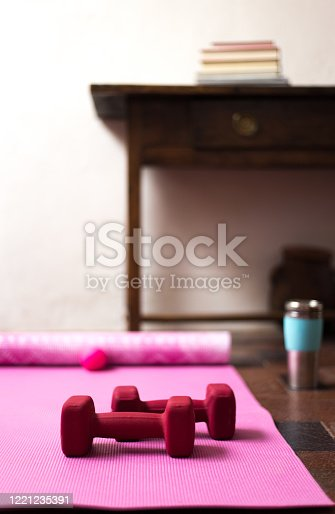 Home Workout with Pink Yoga Mat and Red Weights