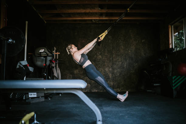 Home Workout With Suspension Training In Garage Gym