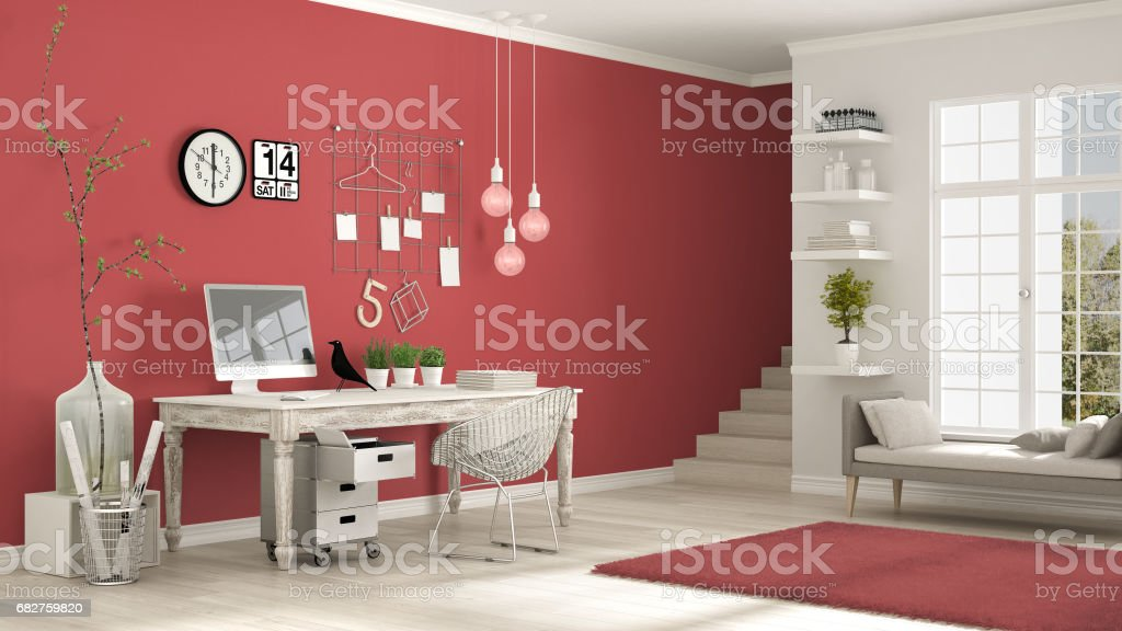 Home Workplace Scandinavian White And Red Room Corner Office Classic ...