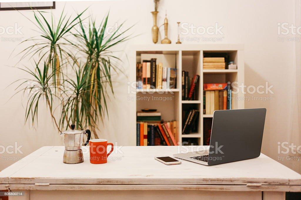 Home workspace corner stock photo