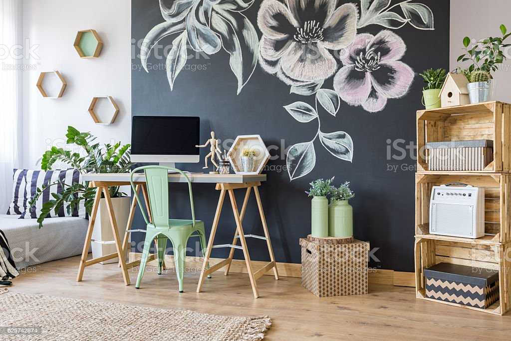Home workspace with chalkboard stock photo
