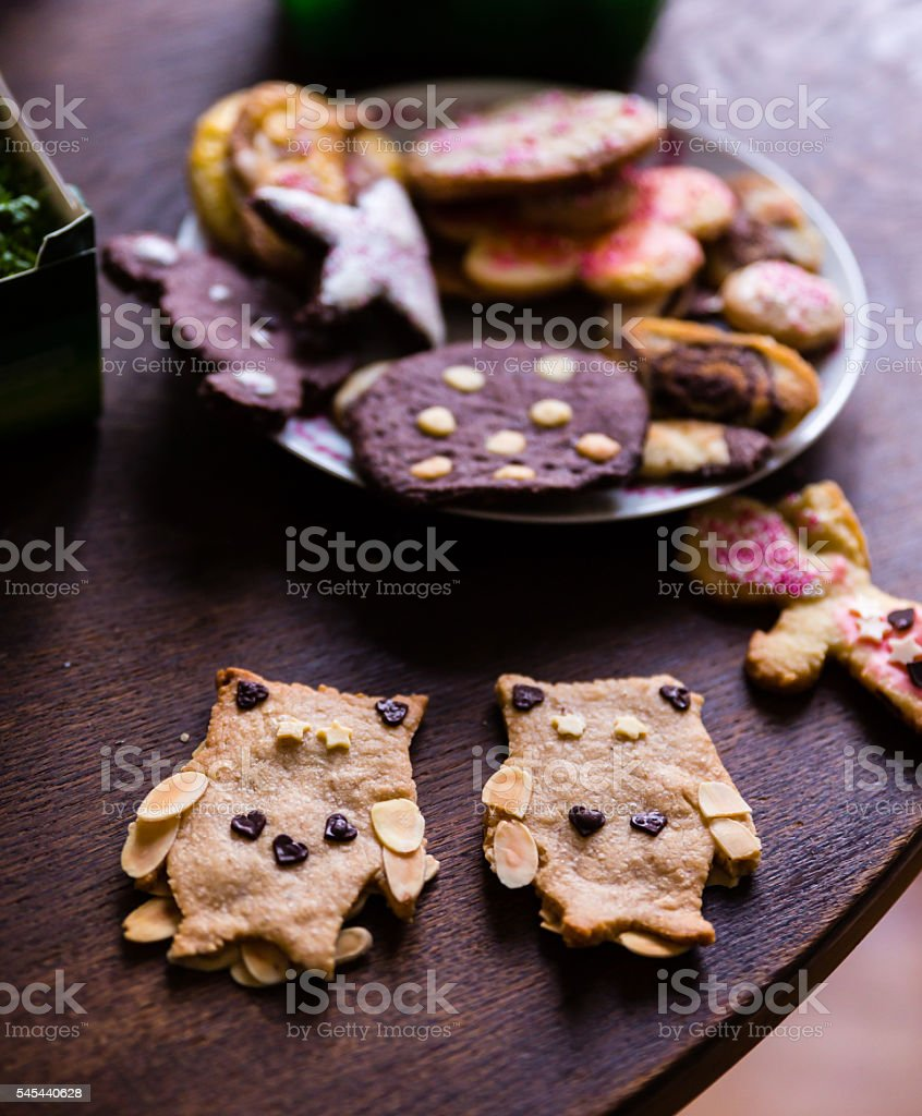 home-baked Owl cookies stock photo