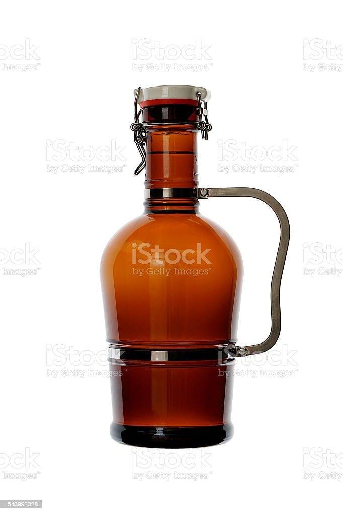 Homebrew Beer in Swing Top Growler with Handle stock photo
