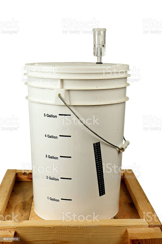 Homebrew Fermenting in a Bucket stock photo