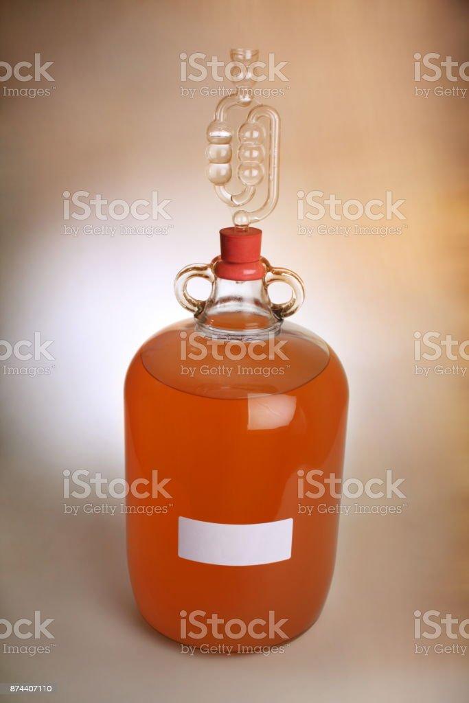 Homebrew, peach wine stock photo