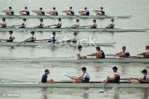 Sydney, Australia - March 6, 2014: Groups of schoolboys sweep rowing during a training session at Homebush Bay, along the Parramatta River.