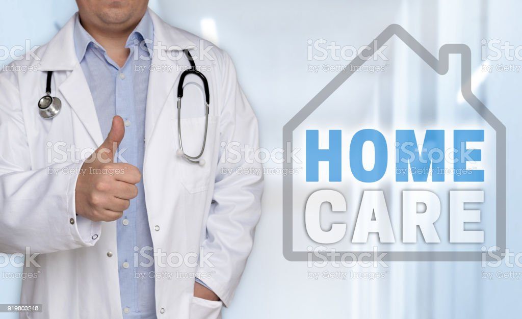 Homecare concept and doctor with thumbs up stock photo