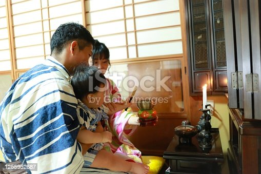 Japanese family staying at home while Obon (お盆) season in summer. お盆に帰省