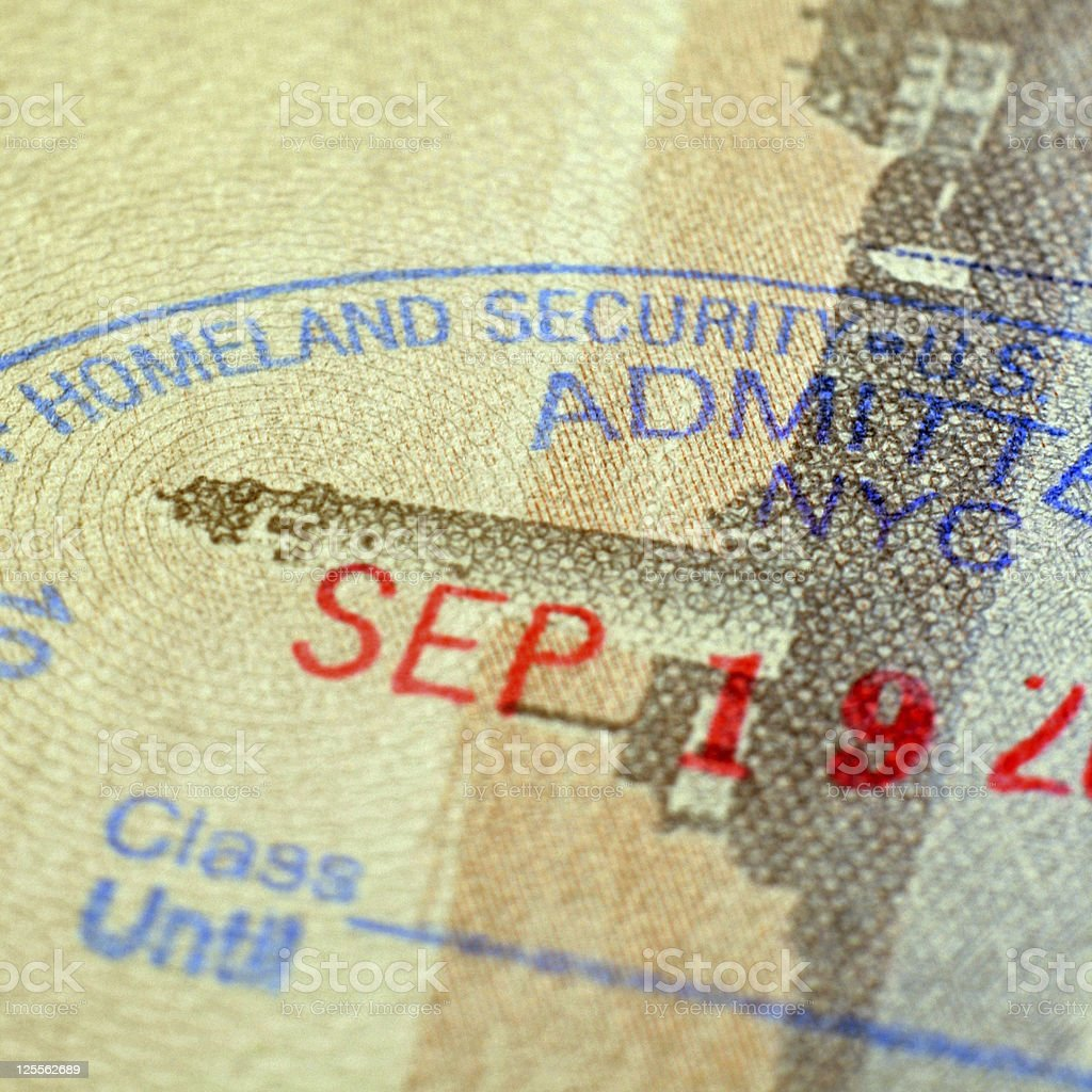 U.S. Homeland Security - Passport Stamp royalty-free stock photo