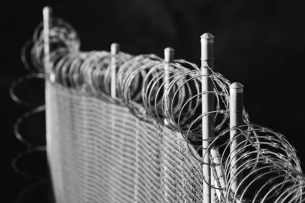 Homeland Security Razor Wire Fence Barrier stock photo
