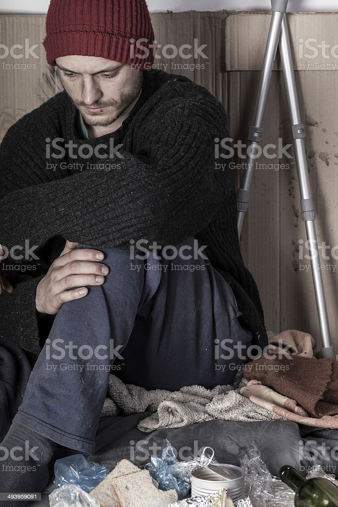 Homeless and depressed man royalty-free stock photo