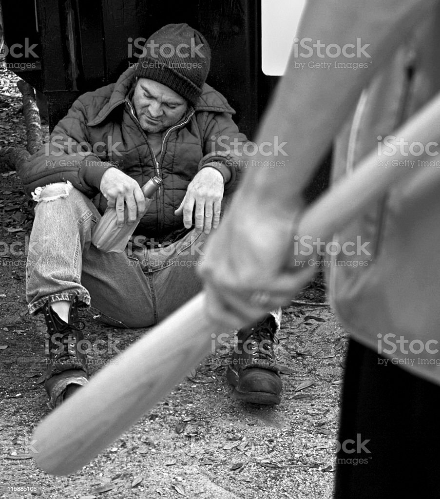 Homeless and Helpless B&W royalty-free stock photo