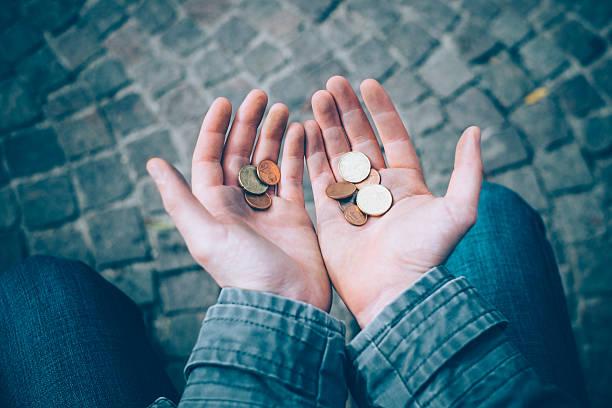 homeless begging money because poor in the street - dirty money bildbanksfoton och bilder