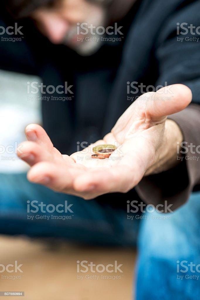Homeless Begging stock photo