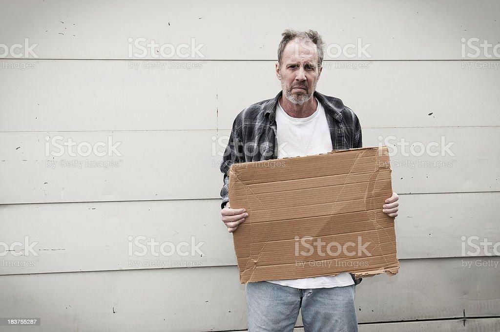 Homeless: Blank Sign royalty-free stock photo