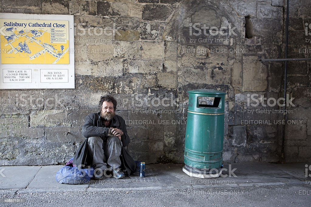 Homeless by the Cathedral stock photo