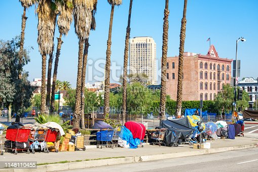 458464131istockphoto Homeless camp in downtown Los Angeles California 1148110455