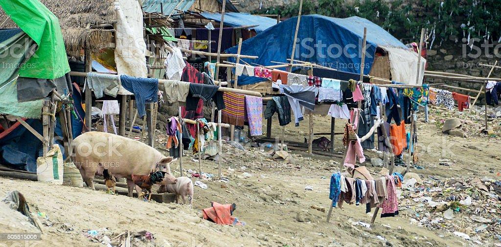 Homeless Camp In Myanmar stock photo