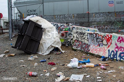 458464131istockphoto A homeless camp stands adjacent to trash and debris near 8100 Haskell Ave, by railroad tracks. 1204453271