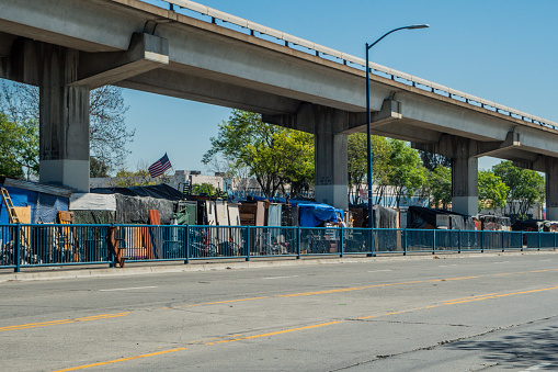 istock Homeless Camp Under the Bart in Oakland 1137966766