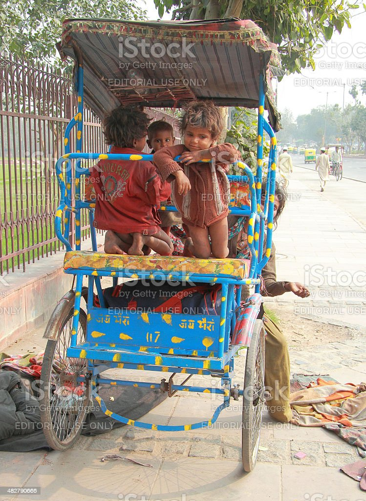 homeless children in Delhi, India stock photo