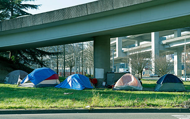 homeless encampment below freeway in seattle wa - homelessness stock photos and pictures