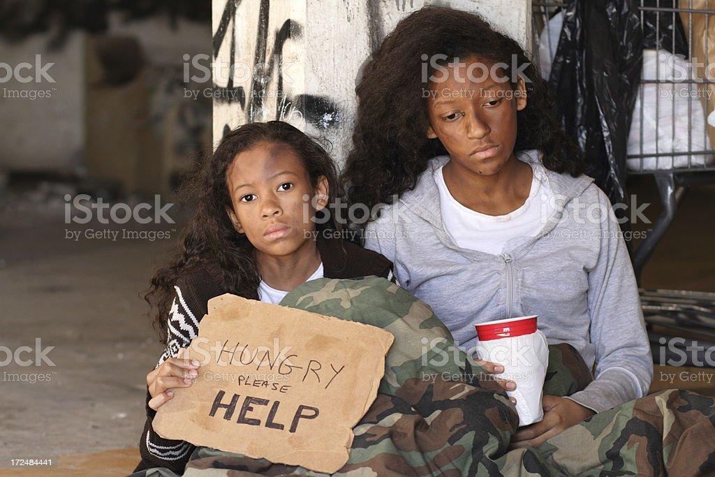 Homeless Girls One Looks royalty-free stock photo