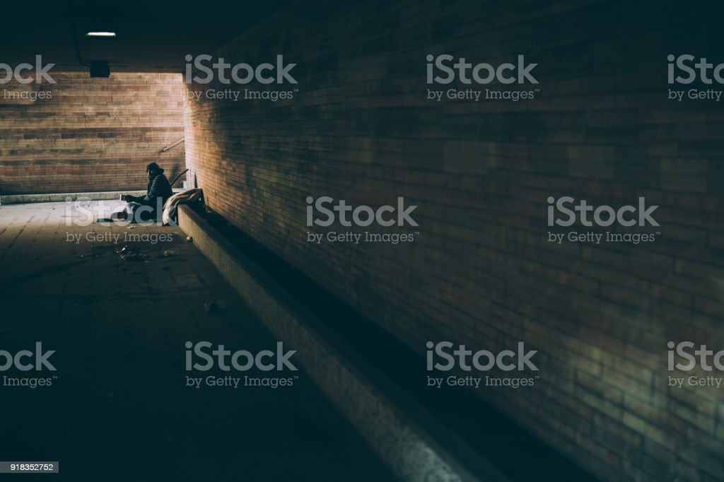 Homeless guy stock photo
