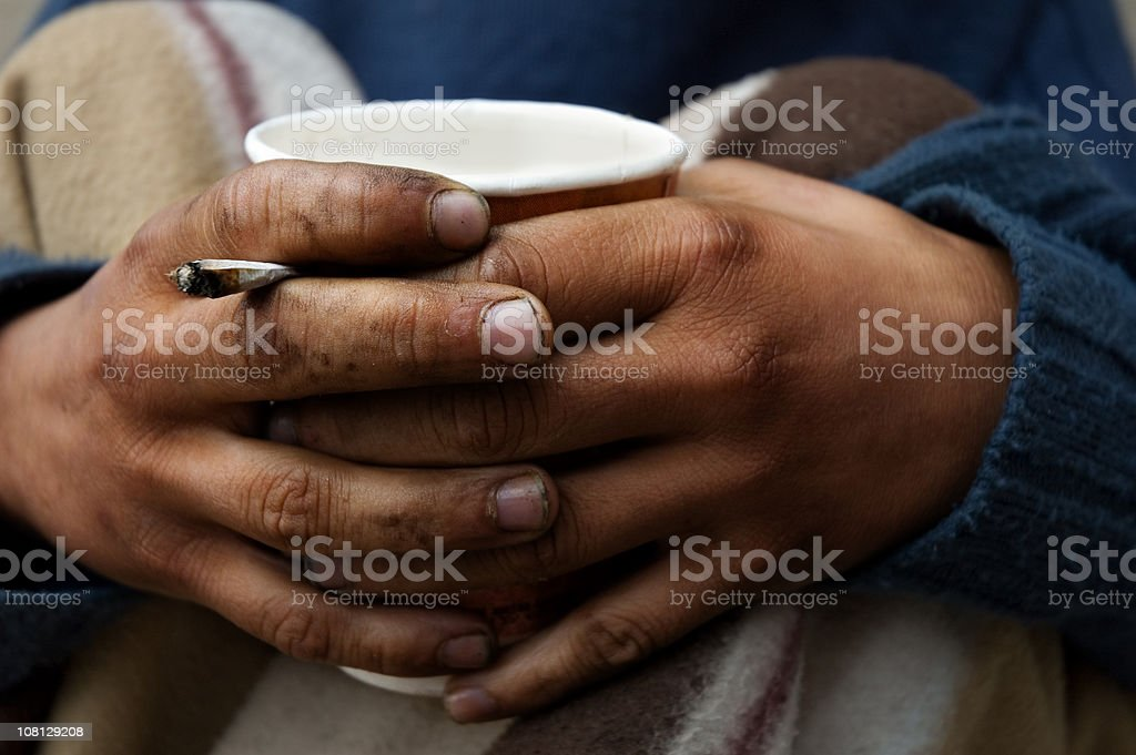 Homeless hands royalty-free stock photo