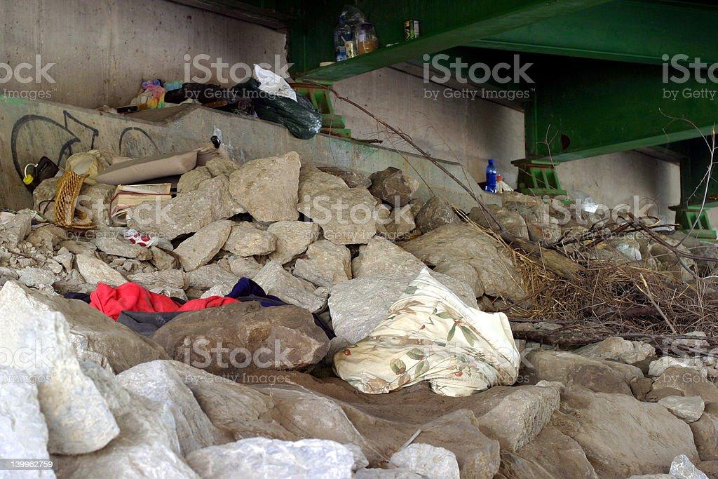 Homeless Home - sleeping quarters stock photo
