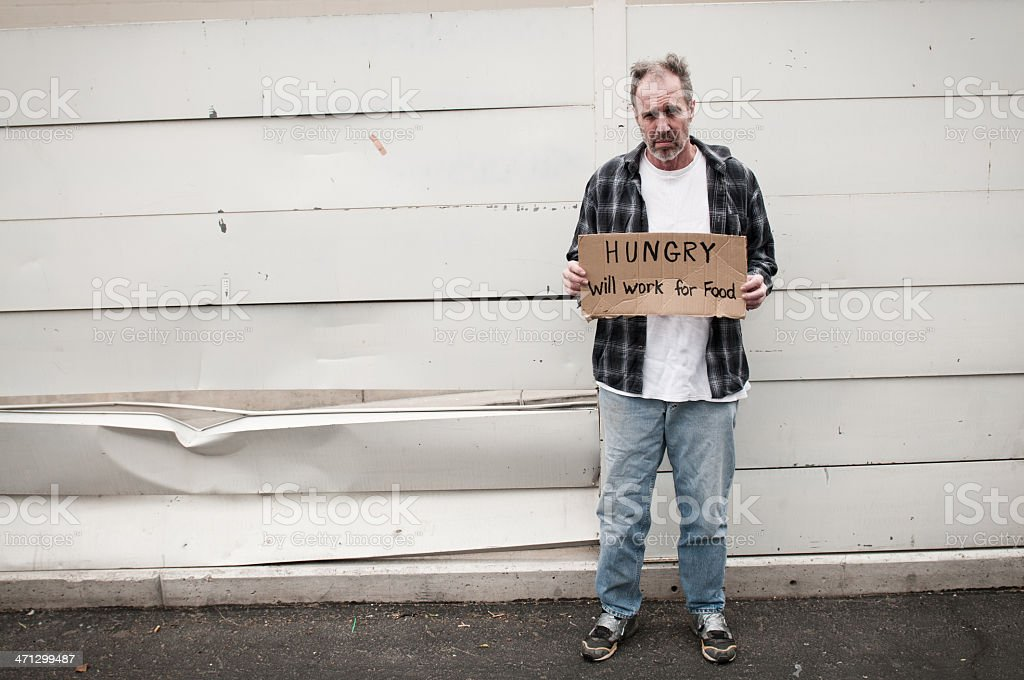 Homeless: Hungry royalty-free stock photo