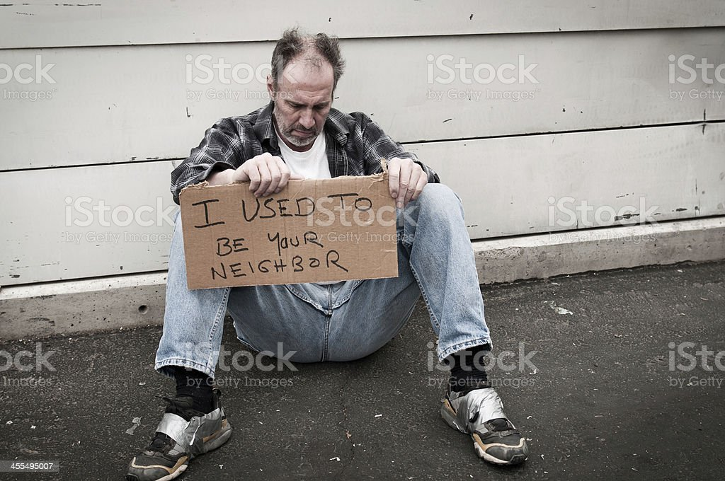 Homeless: I used to be your neighbor royalty-free stock photo