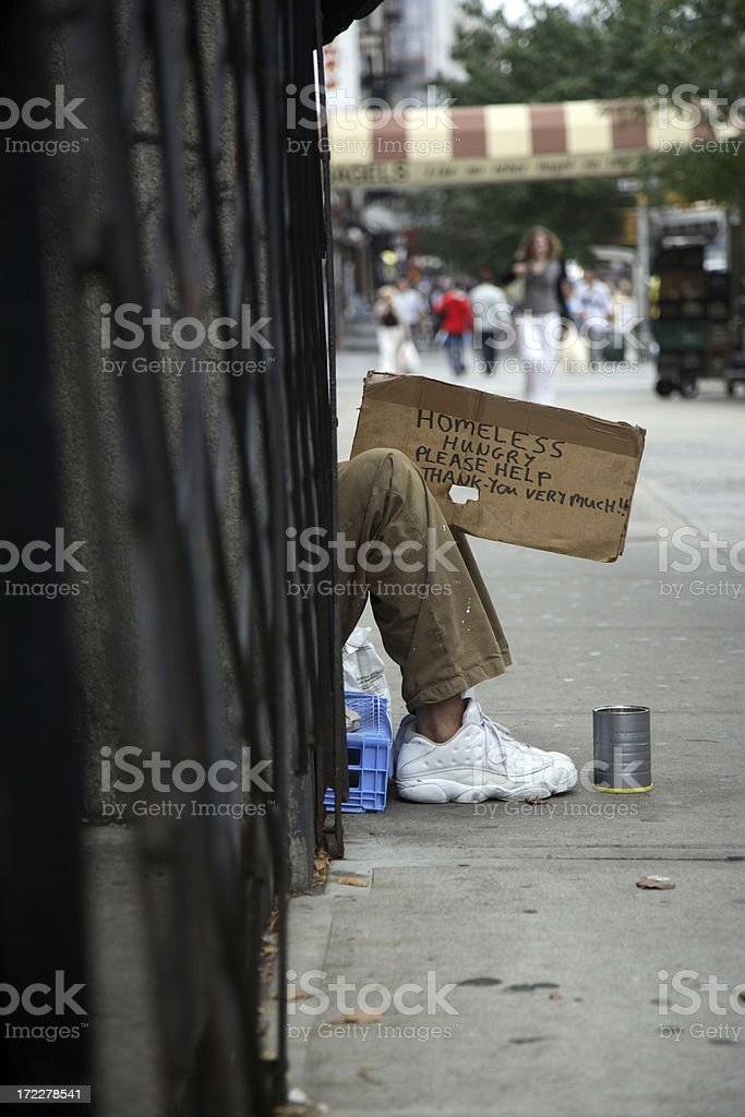 Homeless in Manhattan stock photo