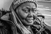 A black and white image of a homeless African American woman on the streets of Portland, Oregon.