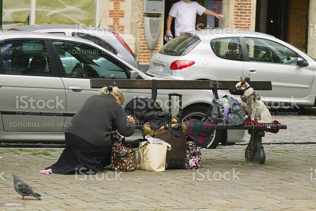 Homeless in town royalty-free stock photo