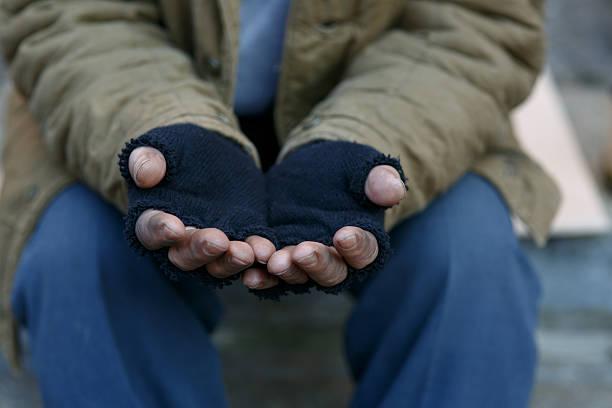 homeless man asking for help - cold street bildbanksfoton och bilder