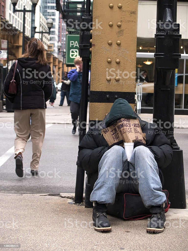 Homeless man in Downtown Chicago stock photo
