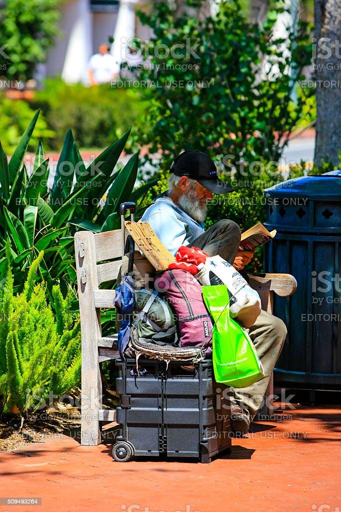 Homeless man in downtown Santa Barbara stock photo