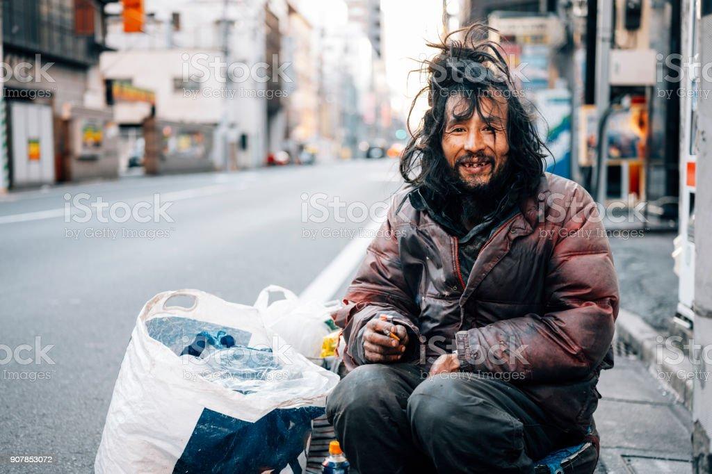 東京のホームレスの男性 ストックフォト