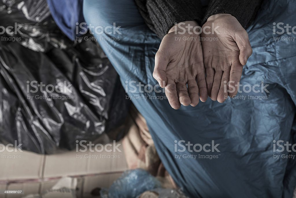 Homeless man needs money royalty-free stock photo