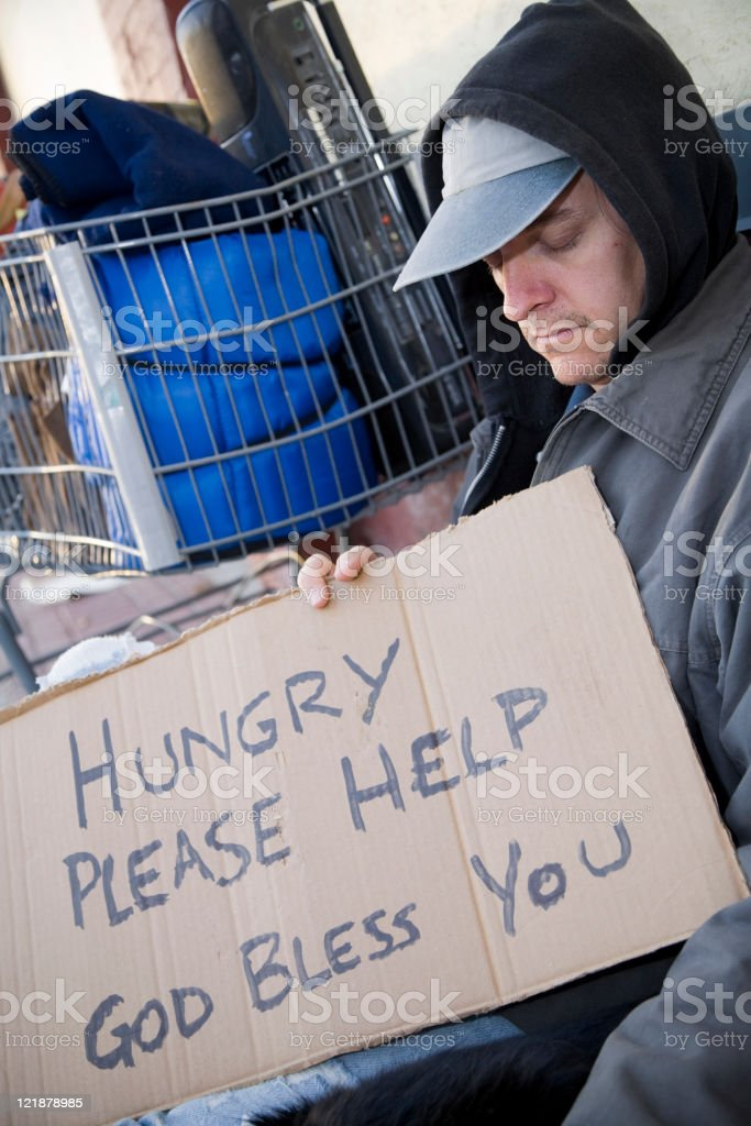 Homeless Man on a City Street royalty-free stock photo