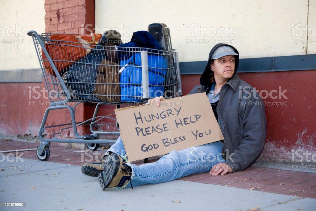 Homeless Man on a City Street royalty-free stock photo
