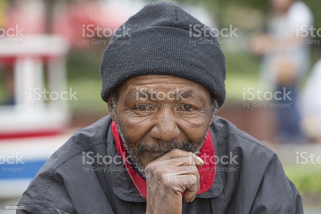 Homeless Man Thinking stock photo