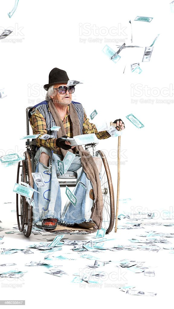 homeless man with a lot of money royalty-free stock photo