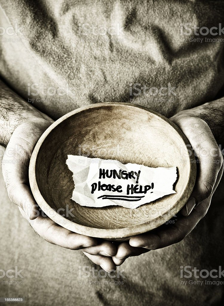 Homeless Man with Begging Bowl royalty-free stock photo