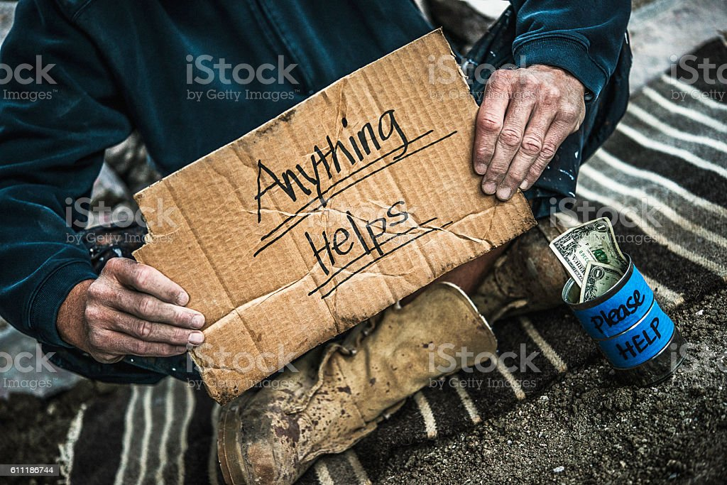 Homeless man with money tin begging for money – Foto