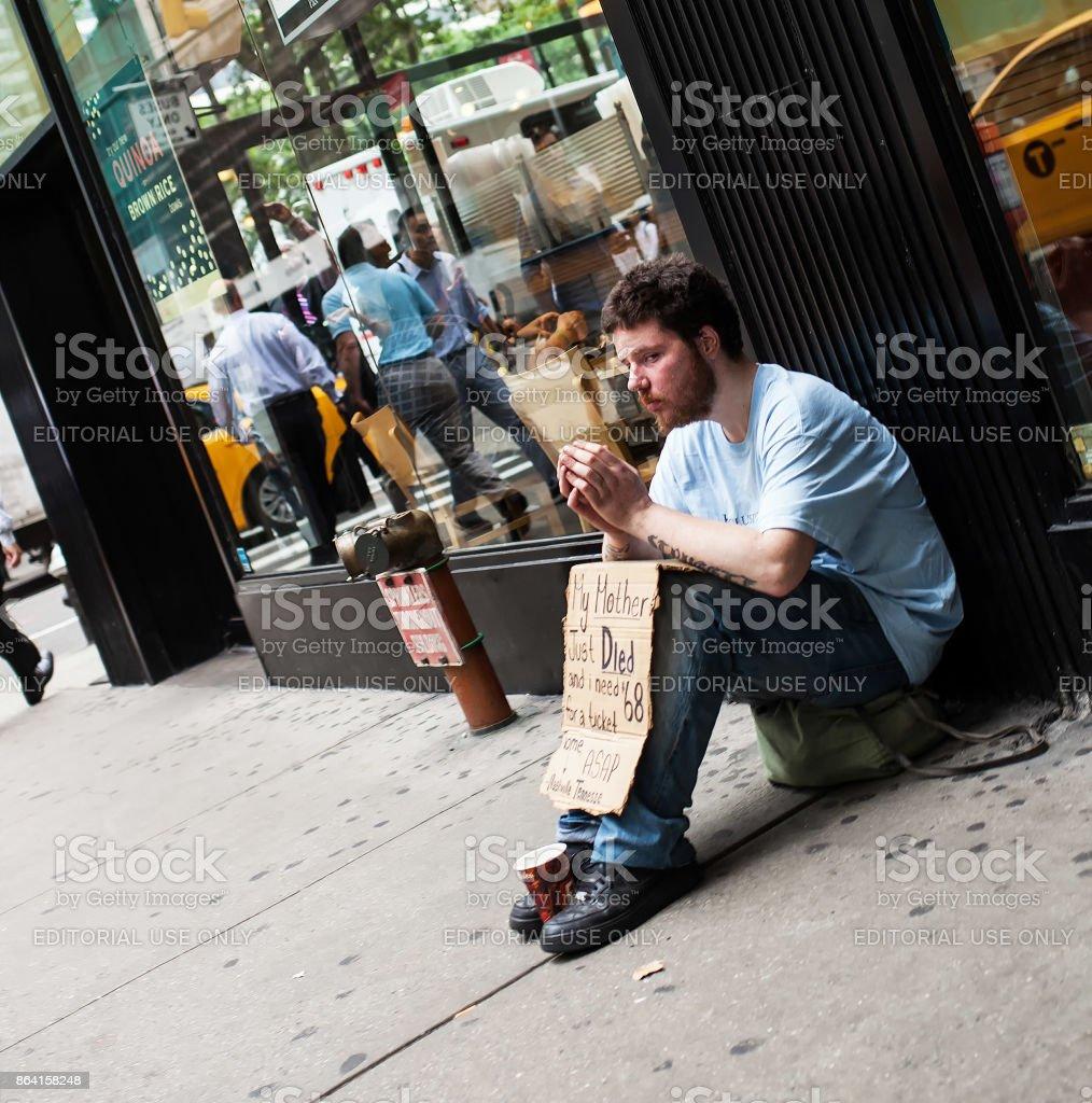 Homeless manin downtown Manhattan royalty-free stock photo